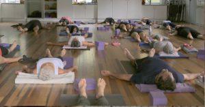Beginner class in Savasana